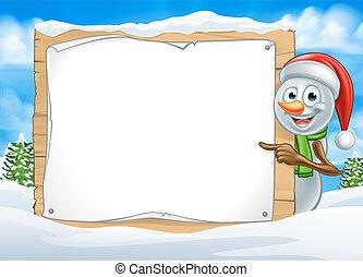 Cartoon Snowman Santa Hat Sign Scene