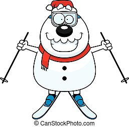 Cartoon Snowman Santa Skiing