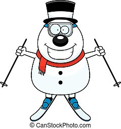 Cartoon Snowman Skiing