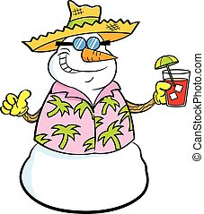 Cartoon snowman wearing a straw hat and holding a tropical drink.
