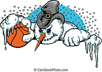 cartoon snowman with a basketball