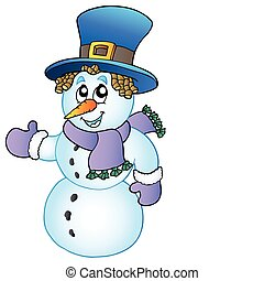Cartoon snowman with big hat