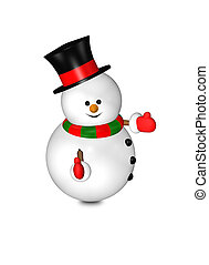 cartoon snowman with thumbs up isolated over white