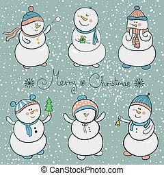 Cartoon snowmen set, christmas illustration