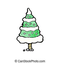 cartoon snowy christmas tree