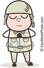 Cartoon Sober Army Man Praying Vector Illustration