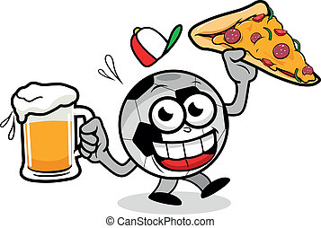 Cartoon soccer ball serving beer and pizza. Vector illustration