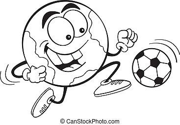 Cartoon Soccer Earth (Black and Whi
