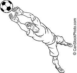 Cartoon Soccer Football Goal Keeper Player