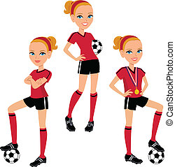 Illustration of a cartoon girl teen girl with the soccer ball, in three poses.