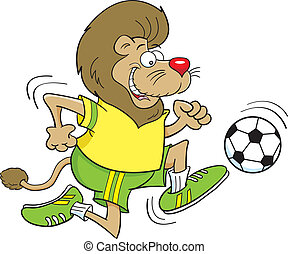 Cartoon Soccer Lion