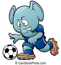 Soccer player - Cartoon Soccer player - Elephant