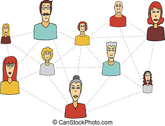Cartoon social network / People connecting