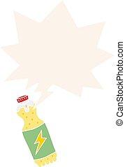 cartoon soda bottle and speech bubble in retro style