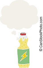 cartoon soda bottle and thought bubble in retro style