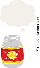 cartoon soda can and thought bubble in retro style