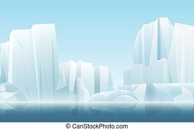 Cartoon soft color nature winter arctic icy fog landscape with crystal clean icebergs and snow mountains vector illustration.