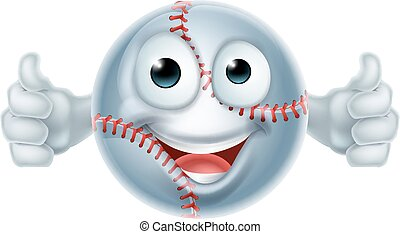 Cartoon Softball Ball Man Character