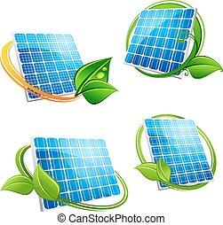 Cartoon solar panel with leafy frames