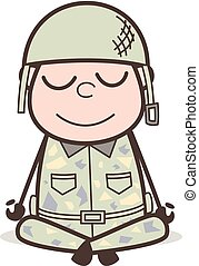 Cartoon Soldier Doing Yoga Vector Illustration