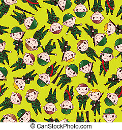 cartoon Soldier seamless pattern