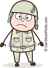 Cartoon Soldier Shocking Face Expression Vector Illustration