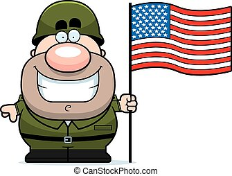 Cartoon Soldier with Flag