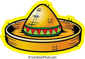 Cartoon Sombrero - A cartoon yellow straw sombrero ...