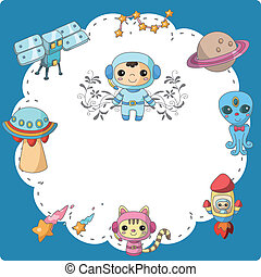 cartoon space card