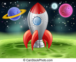 Cartoon Space Rocket on Alien Planet - An illustration of a...