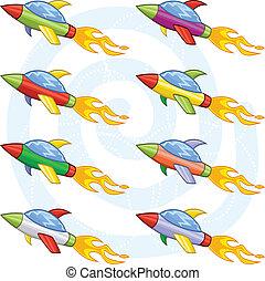Cartoon space shuttles
