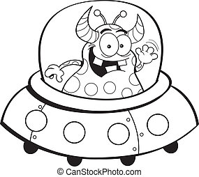 Cartoon spacecraft - Black and white illustration of an...