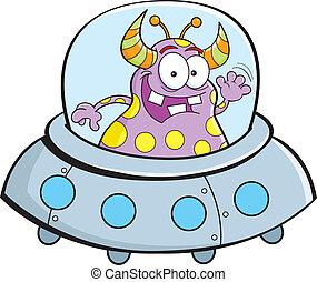 Cartoon spacecraft - Cartoon illustration of an alien flying...