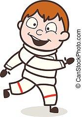 Cartoon Spaceman Running Pose Vector Illustration