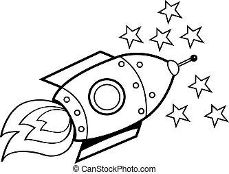 Freehand drawn black and white cartoon alien spaceship.