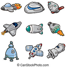 cartoon spaceship icon  - cartoon spaceship icon