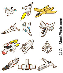cartoon spaceship icon  - cartoon spaceship icon
