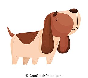 Cartoon Spaniel. Vector illustration on a white background.