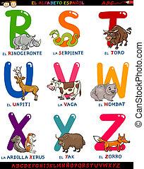 cartoon spanish alphabet with animals - Cartoon Illustration...