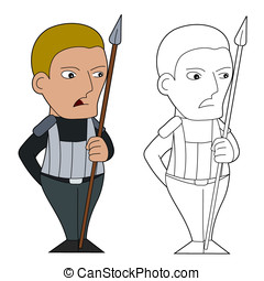 Cartoon spearman - Fantasy fighter with a spear character...