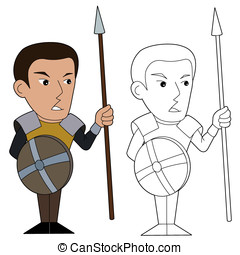 Cartoon spearman - Fantasy warrior character illustration,...