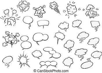 Cartoon speech bubbles and explosion clouds