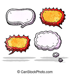 cartoon speech bubbles and thought clouds