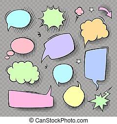 Cartoon speech bubbles colored icons set. Comic text empty bubble collection. Empty cloud pop art vector