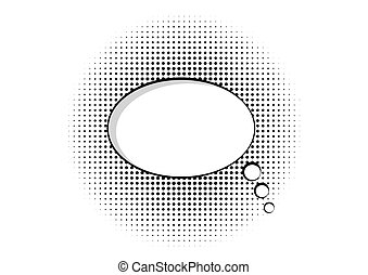 cartoon speech pop art bubble haltone communication background vector empty cloud symbol with place for text