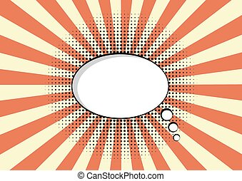 cartoon speech pop art bubble haltone communication  sunburst background vector empty cloud symbol with place for text