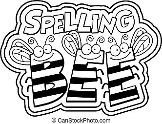 Cartoon Spelling Bee - A cartoon illustration of the word...