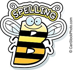 Cartoon Spelling Bee Text - A cartoon illustration of the ...