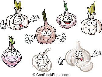 Cartoon spicy garlic vegetables with green sprouts