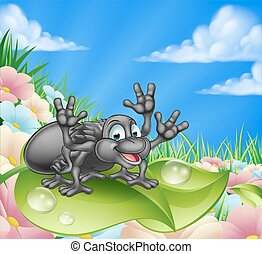 Cartoon Spider in Meadow